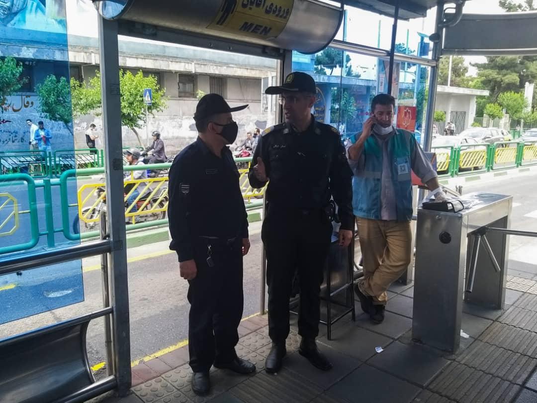 استقرار نیرو های پلیس در ایستگاه های بی آر تی در طرح الزام استفاده از ماسک